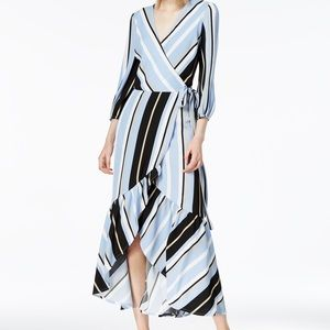 NWT Blue black stripes wrap around maxi dress